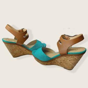 🌼3/$30 DLG Turquoise Kindle Cork Sandal Wedges 10